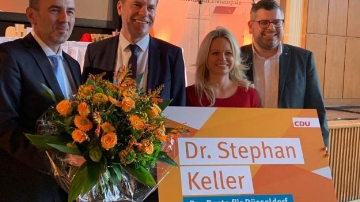v.l.n.r.: Kreisvorsitzender Thomas Jarzombek, OB Kandidat Dr. Stephan Keller, stellv. Vorsitzende Angela Erwin und Peter Blumenrath