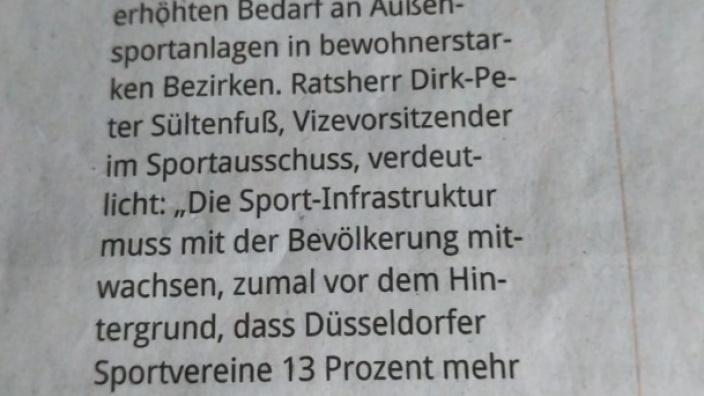 Die Pressemitteilung der CDU-Ratsfraktion Düsseldorf am 27. März im Düsseldorfer Anzeiger.